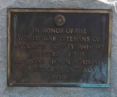 World War Veterans Marker -<br>Reverse image. Click for full size.