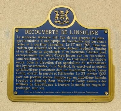 Decouverte de L'Insuline Marker image. Click for full size.