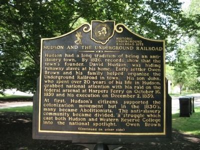 Hudson and the Underground Railroad Marker - Side A image. Click for full size.