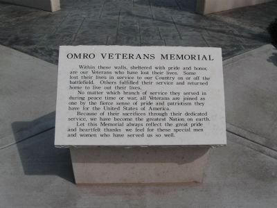 Omro Veterans Memorial Marker image. Click for full size.