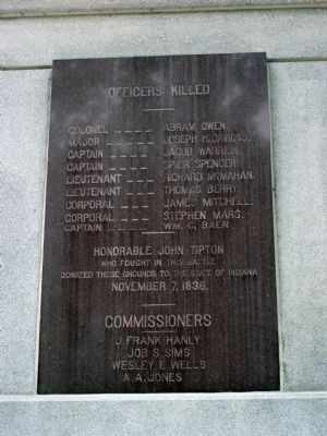Panel Three - - Tippecanoe Battlefield Memorial Marker image. Click for full size.