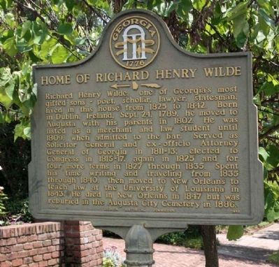 Home of Richard Henry Wilde Marker image. Click for full size.