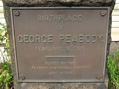 Birthplace of George Peabody Marker image. Click for full size.