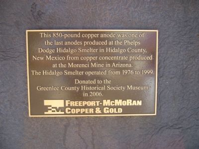 Phelps Dodge Hidalgo Smelter Marker image. Click for full size.
