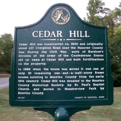 Cedar Hill Marker image. Click for full size.