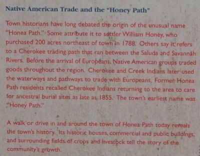 "Honea Path Marker - Front<br>Native American Trade and the ""Honey Path"" image. Click for full size."