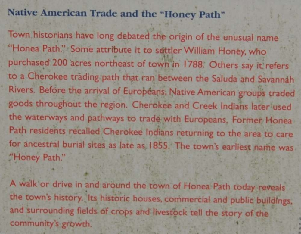 "Honea Path Marker - Front<br>Native American Trade and the ""Honey Path"""