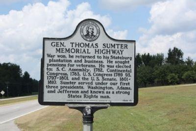 Gen. Thomas Sumter Memorial Highway Marker, side 2 image, Touch for more information