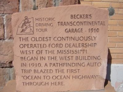Becker's Transcontinental Garage Marker image. Click for full size.