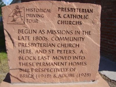 Presbyterian & Catholic Churchs Marker image. Click for full size.