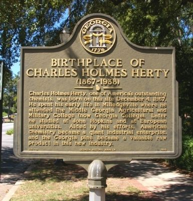 Birthplace of Charles Holmes Herty Marker image. Click for full size.