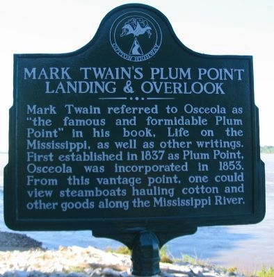 Mark Twain's Plum Point Landing & Overlook Marker image. Click for full size.