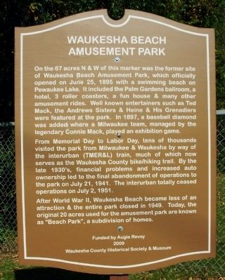 Waukesha Beach Amusement Park Marker image. Click for full size.