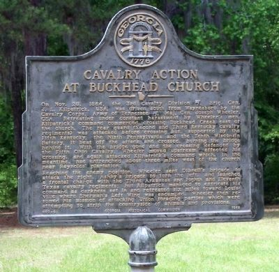 Cavalry Action at Buckhead Church Marker image. Click for full size.