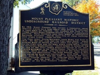 Mount Pleasant Historic Underground Railroad District Marker image. Click for full size.