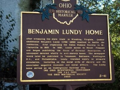Benjamin Lundy Home Marker image. Click for full size.