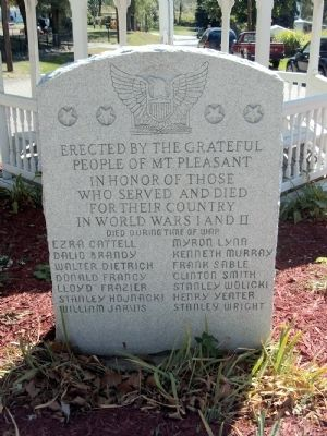 Mount Pleasant Veterans Memorial Marker image. Click for full size.