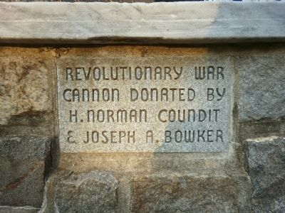 Revolutionary War Cannon donated by H. Norman Coundit & Joseph A. Bowker image. Click for full size.
