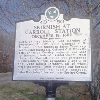 Skirmish at Carroll Station Marker image. Click for full size.