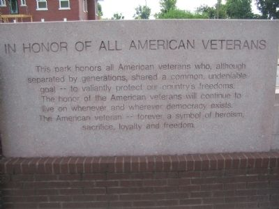 Inscription on Back of Veterans Memorial image. Click for full size.