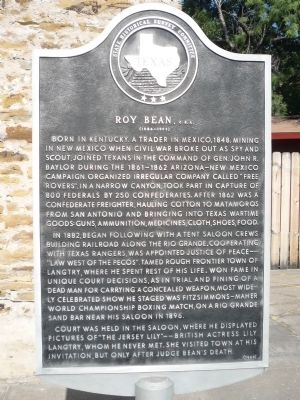 Roy Bean<small>, C. S. A.</small> Marker image. Click for full size.