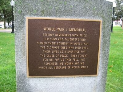 Beverly World War I Memorial image. Click for full size.