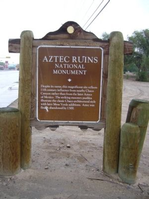 Aztec Ruins National Monument Marker image. Click for full size.