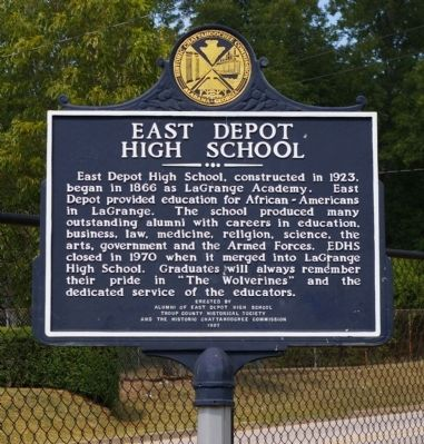 East Depot High School Marker image. Click for full size.