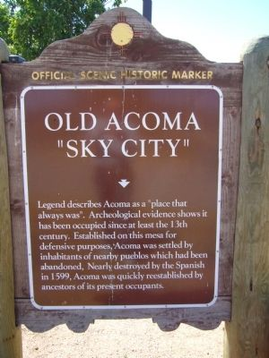 "Old Acoma ""Sky City"" Marker image. Click for full size."