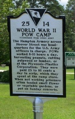 World War II POW Camp Marker, reverse side image. Click for full size.