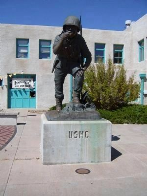 Navajo Code Talkers Marker and Statue image. Click for full size.