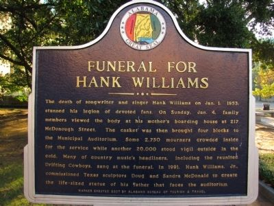 Funeral for Hank Williams Marker image. Click for full size.