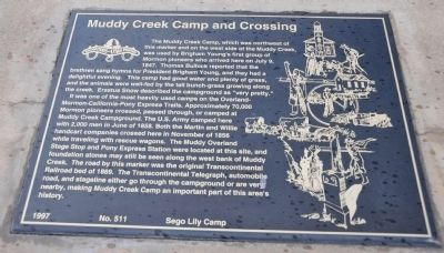 Muddy Creek Camp and Crossing Marker image. Click for full size.