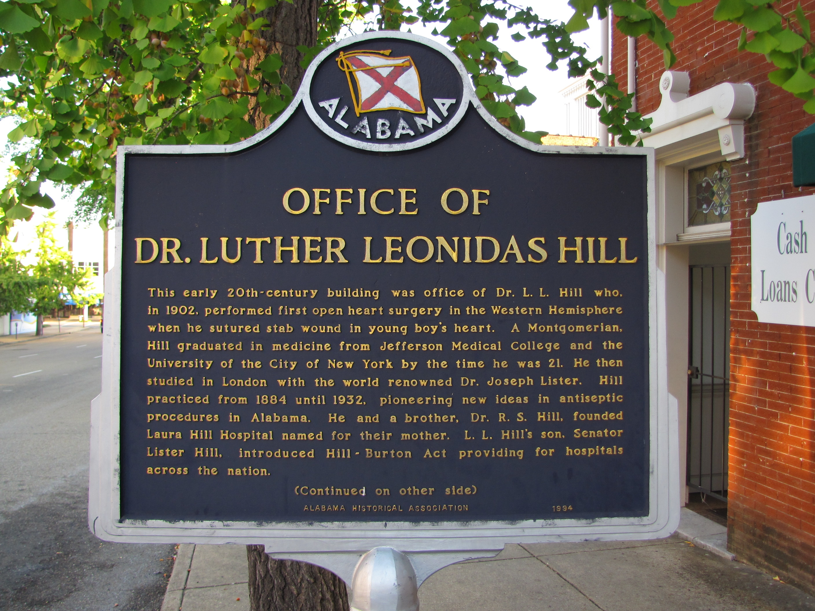 Office of Dr. Luther Leonidas Hill Marker