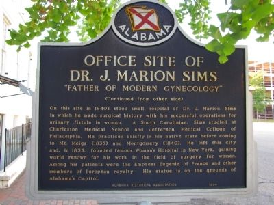 Office Site of Dr. J. Marion Sims Marker image. Click for full size.