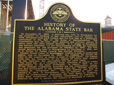 History of the Alabama State Bar Marker image. Click for full size.