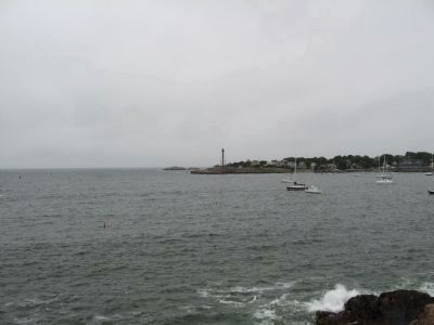 View from Fort Sewall across Marblehead Harbor to Marblehead Light image. Click for full size.