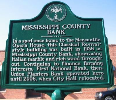 Mississippi County Bank Marker image. Click for full size.