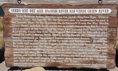 Seeds-Kee-Dee-Agie, Spanish River, Rio Verde, Green River Marker image. Click for full size.