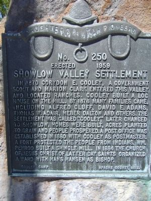 Showlow Valley Settlement Marker image. Click for full size.