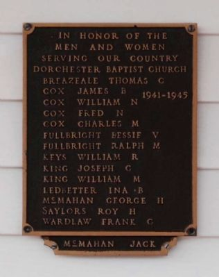 Dorchester Baptist Church World War II<br>Veterans Plaque image. Click for full size.