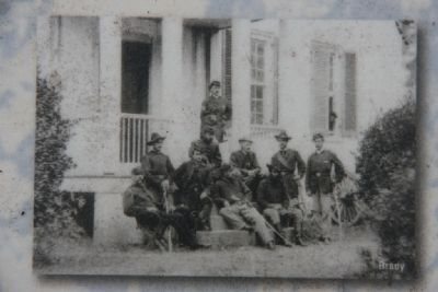 Maj. Gen. James H. Wilson, USA, and staff at Reams Station, Virginia. image. Click for full size.