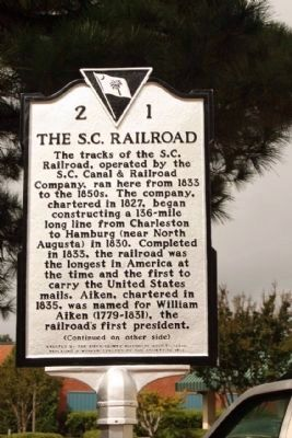 South Carolina Canal & Rail Road Company Marker, REPLACED with new version image. Click for full size.