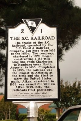 The S.C. Railroad Marker image. Click for full size.