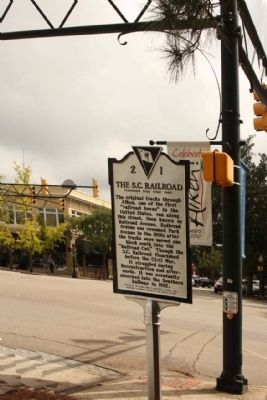 The S.C. Railroad Marker, at the intersection of Laurens Street SW and Park Ave. image. Click for full size.