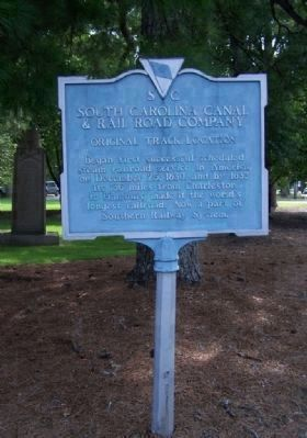 "The Original 1962 marker<i> replaced</i> - the ""South Carolina Canal And Rail Road Company"" image. Click for full size."