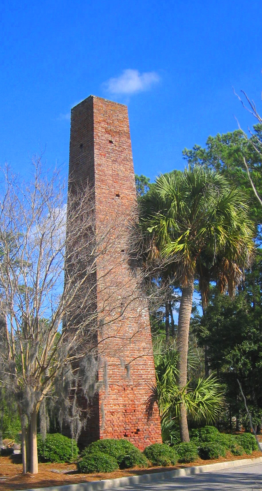 Brick chimney from brickmaking facility