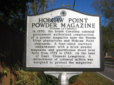 Hobcaw Point Powder Magazine Marker image. Click for full size.