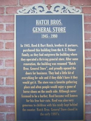 Hatch Bros. General Store Marker image. Click for full size.