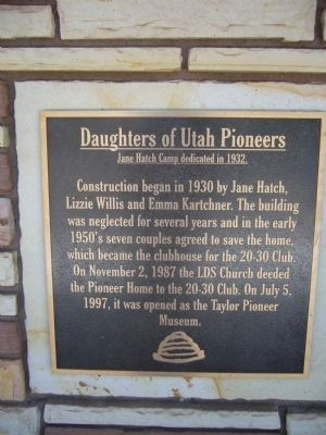 Daughters of the Utah Pioneers Marker image. Click for full size.